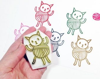 cat ball stamp. kitten hand carved rubber stamp. ball of yarn stamp. knitting/crochet card making. gift wrapping. birthday craft projects