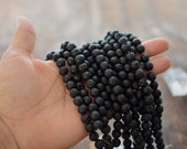 "8mm Natural Black Lava Rock Beads, 16"" strand, 48 Lava Beads, Perfect for oil infusing and Jewelry Making / Gemstones, Yoga Jewelry, Supply"