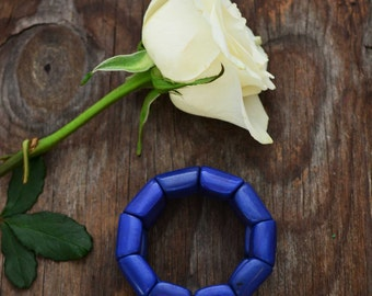 Royal Blue: Beautiful Tagua Nut Bracelet, Tagua River Beads Collection, Eco-Friendly Jewelry, Vegetable Ivory, Eco friendly Jewelry / Gifts