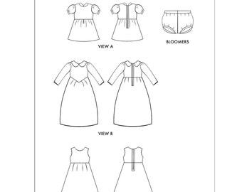 PDF Costume Pattern - The Fancy Dress and Bloomers Costume PDF Pattern 4 Ponyo, Princesses, Warriors, Party Dresses, Adventure Time