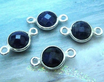 14x7mm Sapphire Bezel Connector, 7mm Gemstone Links, 925 Sterling Silver Double Sided Faceting, BULK WHOLESALE