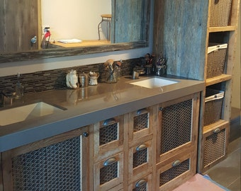 Custom Made Barn Wood and Metal Industrial Tall Linen Cabinetwith FREE SHIPPING BWV8DR1500F