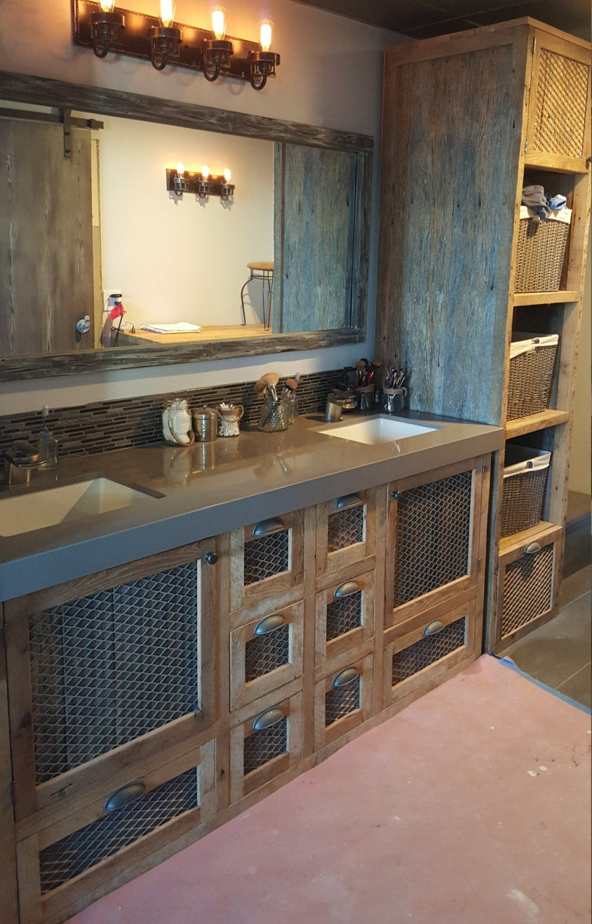 Custom Made Barn Wood and Metal Industrial Tall Linen Cabinet