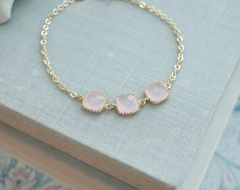 Pink Opal Glass Wedding Bracelet.  Wedding Bracelet, Bridesmaids Bracelet, Bridesmaid Gift, Bridal Wedding Bracelet, Flower Girl Bracelet