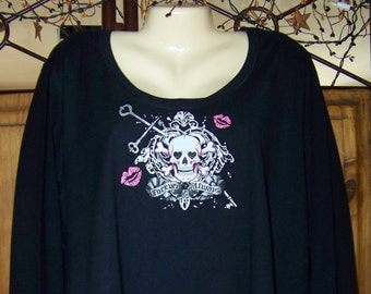 Black Plus Size, Long Sleeve Skull Shirt, Gothic Plus Size Black Skull T-Shirt, Black and Pink, Tee, Long Sleeve Black Plus, Goth Plus Size