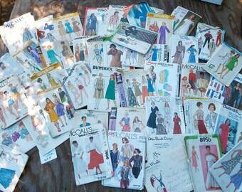 Vintage Sewing Patterns, 1960s, 70s, 80s, box full, destash, Simplicity, McCalls, Butterick, gp5