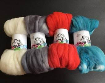 Pack Mates - Rockabilly superwash merino natural silver gray grey red vintage blue teal spinning fiber