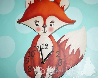Sweet Fox Wooden WALL CLOCK for Girls Boys Woodland Forest Bedroom Baby Nursery WC0084