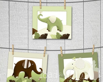 Set of 3 Green and Brown Elephant Baby Nursery Kids Bedroom 8 x 10 Wall ART PRINTS