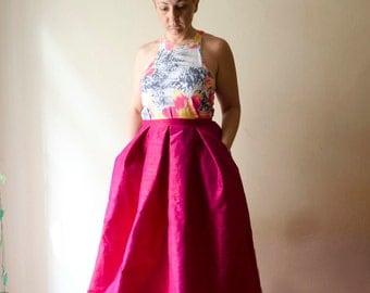 Ruby Pink Maxi Skirt, Silk Shantung Long Evening Skirt Pleats Pockets, Prom Skirt, Bridesmaids Skirt, Customize color and length, Plus sizes