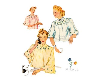 1930s Bed Jacket Pattern McCall 509, Embroidery Trim, Tie Neck, Bust 32 34, Uncut Ladies Vintage Lingerie Patterns, Old Hollywood Fashions