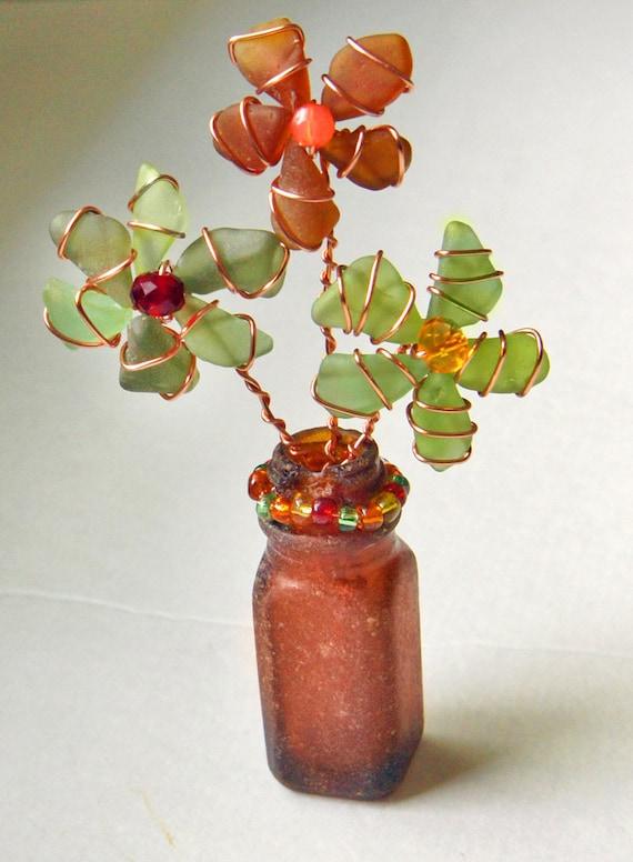 Sea Glass Flowers in Authentic Sea Glass Bottle,  Sea Glass Flowerpot