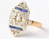 Sapphire and Diamond Engagement Ring: Antique 18K Gold & Platinum, Size 4.25
