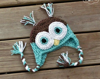 Baby Owl Hat, Newborn Baby Boy Hat, Crochet Owl Baby Hat, Turquoise Aqua Blue, Owl Baby Shower Gift