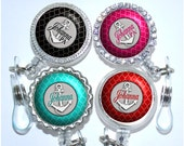 Retractable Id Holder - Personalized Nautical Anchor Badge Reel in 6 Colors (A033)