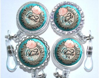 Id Badge Holder - Personalized Turquoise with Pink Rose Badge Reel - Rhinestone Bling Id (A314)