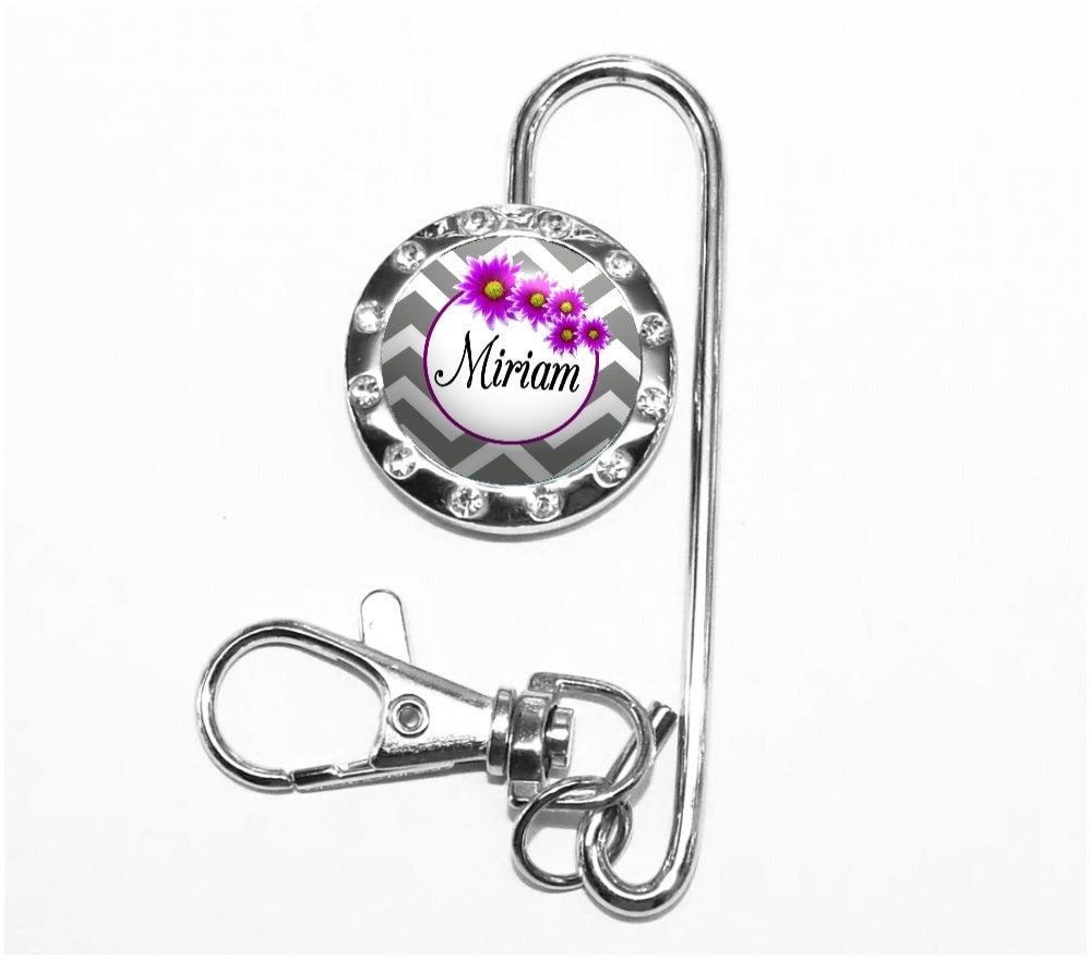 Purple Flowers Chevron Wedding Key Finder - Personalized Keychain ...