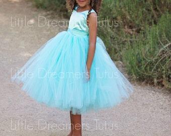 NEW! The Juliet Dress in Aqua Blue - Flower Girl Tutu Dress