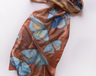 Hand painted silk scarf-Cinnamon Butterflies/ Brown blue scarf painted by hand/ Long fashion scarf/ Autumn preview/ Christmas gift woman