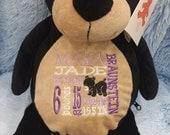 Personalized baby gift, birth announcement, plush, stuffed animal black bear, teddy, embroidery, keepsake, baby subway art, embroider buddy