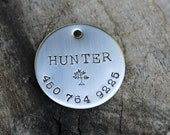 "Large dog ID tag - Handstamped 1.25"" Identification tag for dog collar"
