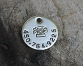Cat or small dog ID tag - Phone - Handstamped brass or nickel silver