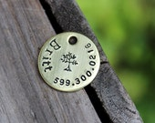Cat or small dog ID tag - Handstamped brass or nickel silver