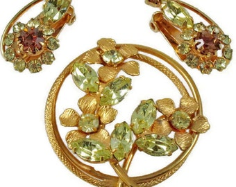1950 Rhinestone Brooch, Earring Set, Flower Design, Yellow-Jonquil Navette Stones, Vintage