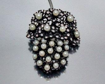 1958 Dandelion or Grape Cluster Brooch, Pearls, Rhinestones, Book Piece,  Vintage Jewelry