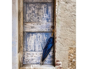 Blue Umbrella Fine Art Photography Italian Street Photography Serre di Rapolono worn doorway Rustic Tuscany Home decor Stone walls ancient