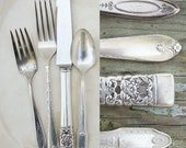 Vintage Mixed Silver Plate Flatware Set / Wedding Silverware / One Place Setting