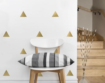 Wall Decals Triangles 56 Large Gold or Silver Metallic Triangle Wall Decals