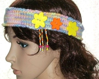 Hand knitted Decorative Multicolored Headband Buttons Ear Warmer Hair Coverings