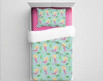 Mermaid Bedding, Custom Bedding, Kids' Mermaid Comforter/Duvet, Girls Nursery, Mermaid Nursery Bedding, Toddler Bedding, Mermaid Blanket