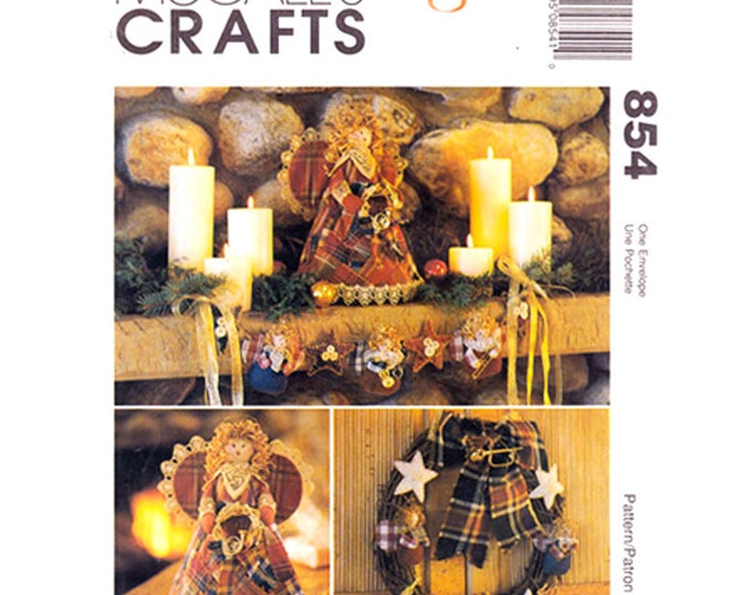 Holiday Decor Pattern McCall's 8892/854 Christmas Angel Ornaments Patchwork Stockings Treetopper