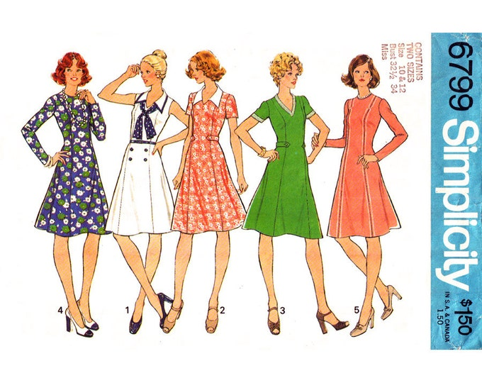 1970s Flared Dress Pattern Simplicity 6799 Princess Seams Sleeveless Dress Size 10 12