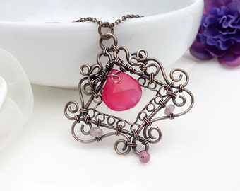 Wire wrapped copper necklace, bright pink copper necklace, pink chalcedony pendant, gothic style handmade copper jewelry