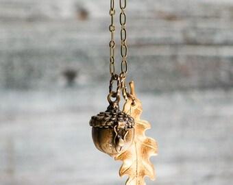 Acorn LOCKET Necklace Autumn Woodland Acorn Prayer Box Oak Leaf Peter Pan Fairy Tale Forest  Rustic Wedding