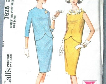 McCall's 7628 ©1964 Misses' Two-Piece Dress and Ring Scarf 1960s 60s Slim Skirt Vintage Sewing Pattern Uncut Factory Folded  Bust 36