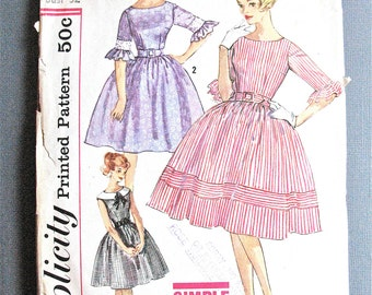 Early 60s Simplicity 3782 OnePiece Dress Fitted Bodice Full Skirt  Ruffles Sleeveless Vintage Sewing Pattern  Bust 32