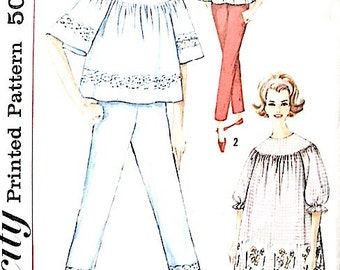 Vintage Simplicity 4587 1960s Pajamas Night Gown Sewing Pattern   Bust 36 inches