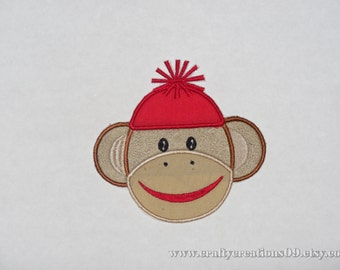 """Embroidered Iron On Applique  """"Boy Sock Monkey"""""""