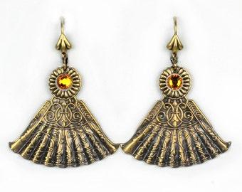 Victorian Fan and Topaz Crystal Steampunk Earrings