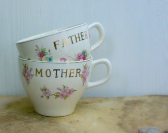 Vintage Father and Mother Large Cups / Shabby Chic