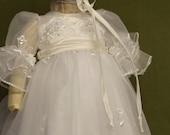 "Angela West ""Lauren Rose"" lace christening gown with accessories and monogram"