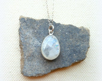 Moonstone necklace sterling silver chain travelers stone protection amulet moon