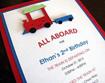 Train Party Invitations, Train Birthday Party Invitations, Train Invitations, Boy Train Party Invitation, Train Invite, Trains, Set of 12