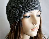 RESERVED for Maria - Womens Crochet Hat Fall or Winter Cloche Fitted Cap Beanie Old Fashioned Hat Charcoal Gray