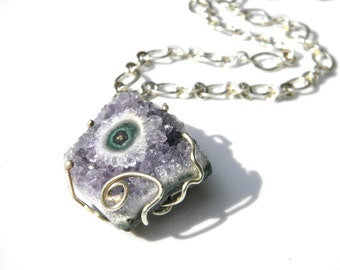 Sterling silver amethyst necklace,amethyst flower stalactite slice pendant,  amethyst nugget pendant,, statement necklace, gemstone jewelry