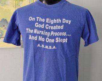 Vintage Nursing TShirt God Religion Nursing Humor 80s Blue Tee LARGE